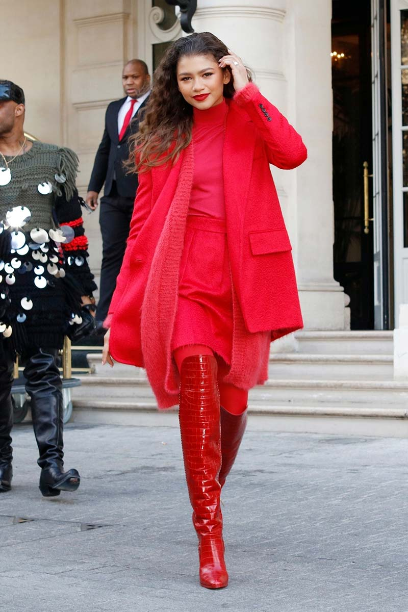 Zendaya spotted in a total red look from the #MaxMaraFW19 collection. Zendaya indossa la collezione Max Mara MaxMaraFW19
