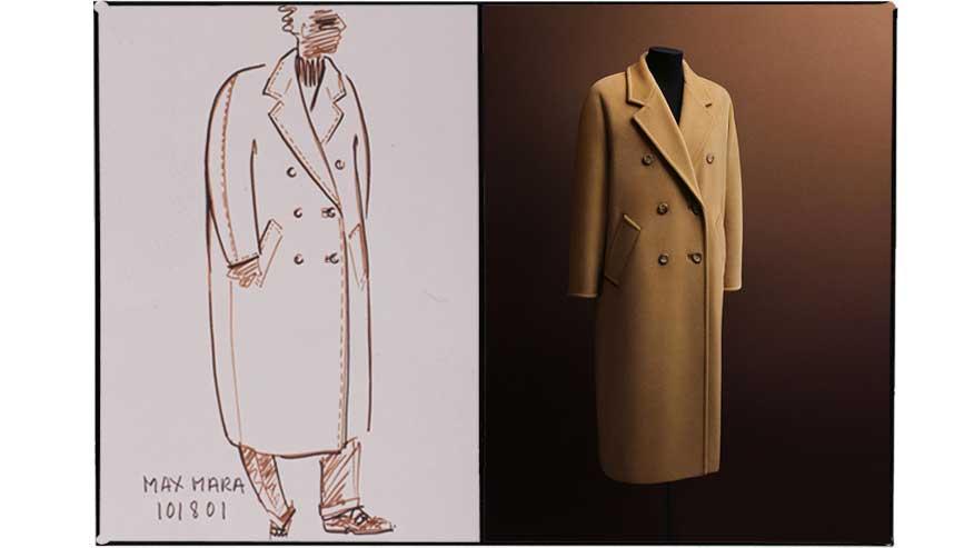Foto e schizzo originale del cappotto modello 101801