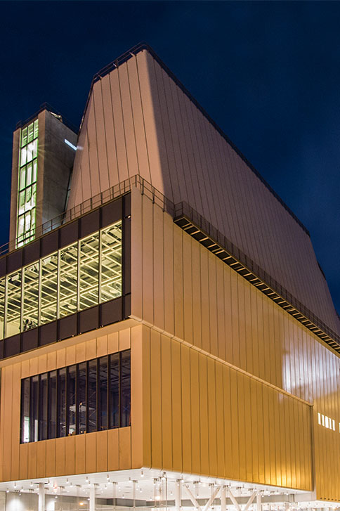 Whitney Museum by Night<br>The lights of Downtown New York<br> Credits: Karin Jobst - Courtesy of The Whitney Museum of American Art