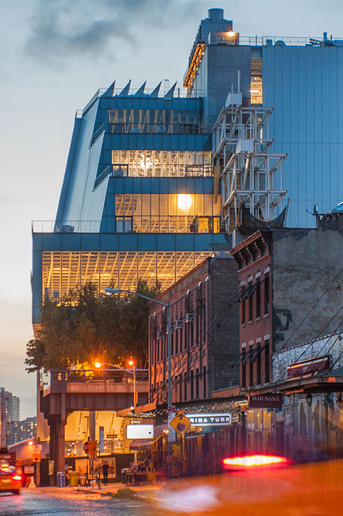 Whitney Museum by Night<br> The lights of Downtown New York<br>Credits: Karin Jobst - Courtesy of The Whitney Museum of American Art