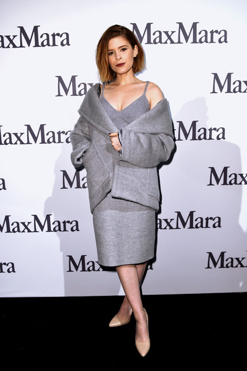 Kata Mara, recipient of the 2015 Women In Film Max Mara Face of the Future Award®, front row at the Max Mara Fall Winter 15-16 Fashion Show on 26th February 2015.