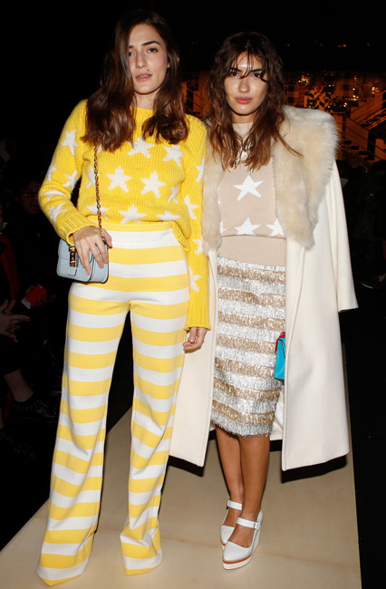 Eleonora Carisi and Patricia Manfield in Max Mara stars and stripes ensemble at our FW16 Runway Show