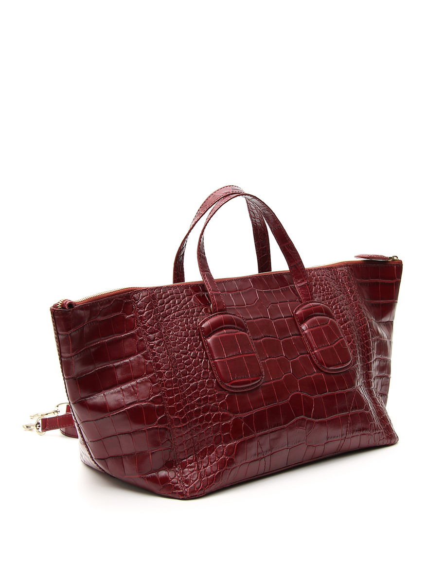 Shopping bag in pelle stampa cocco