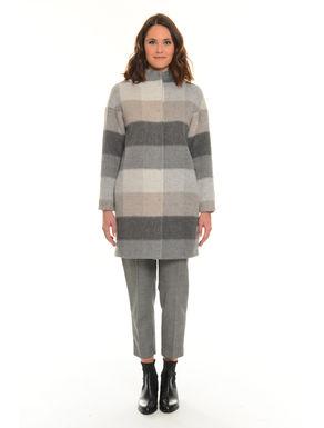 Cappotto misto lana rigato