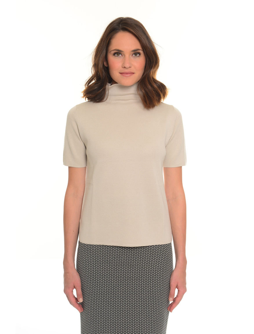 T-shirt collo alto misto seta