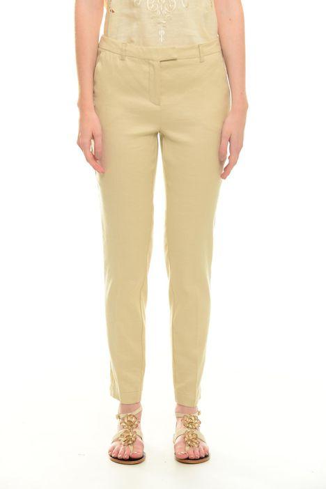 Pantaloni in lino misto cotone