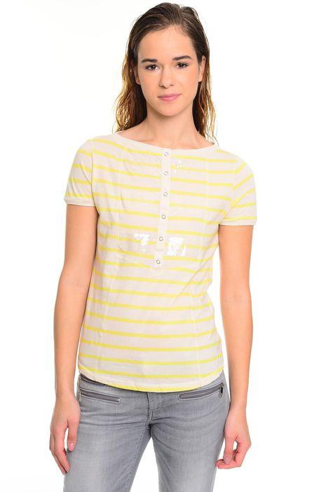 T-shirt a righe con paillettes