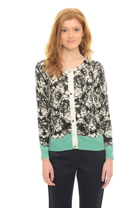 Cardigan con stampa floreale