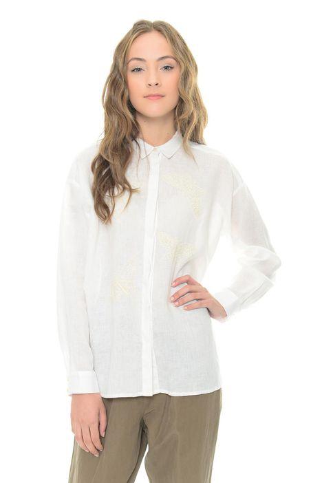 Camicia in lino con ricamo