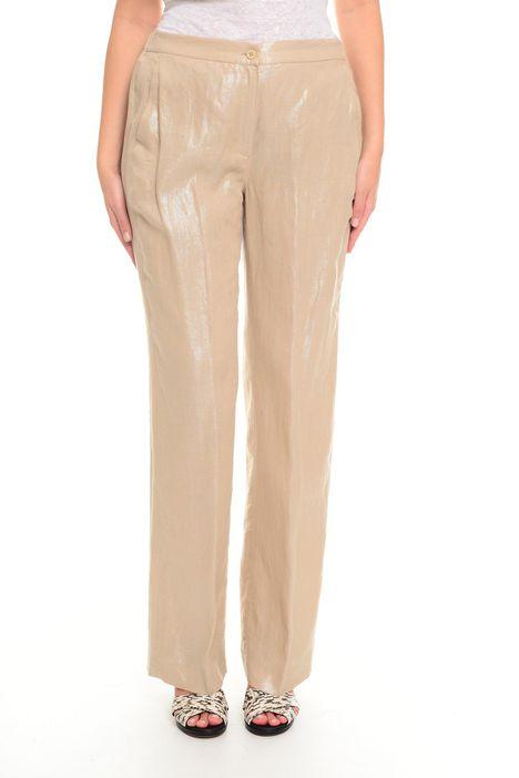 Pantaloni in lino spalmato