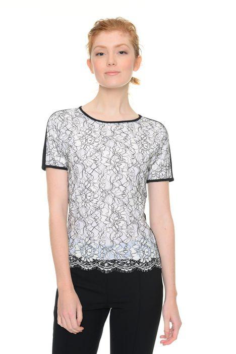 T-shirt bicolore in pizzo