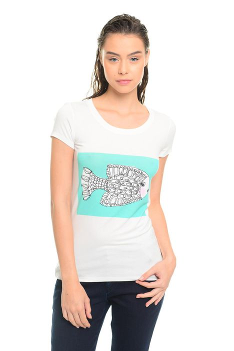 T-shirt in viscosa con stampa