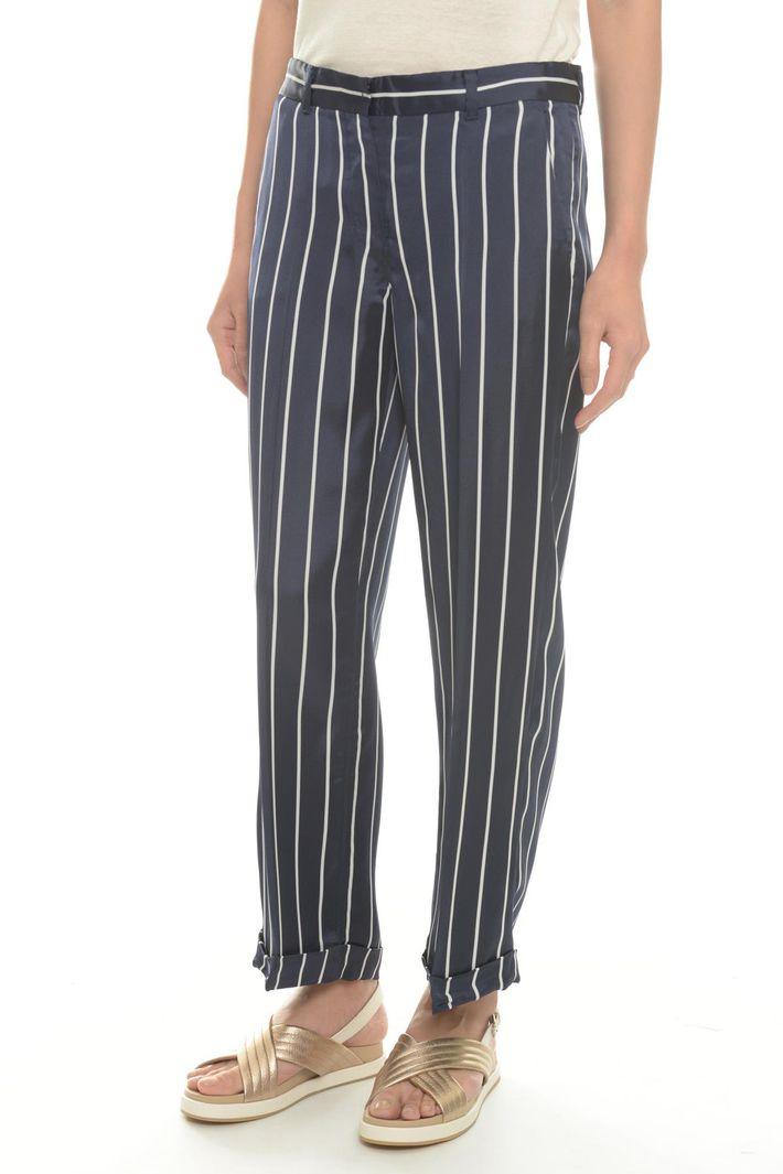 Pantaloni rigato in raso