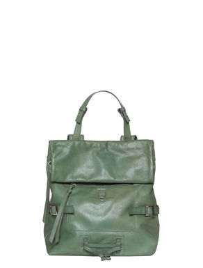 Leather backpack with zip