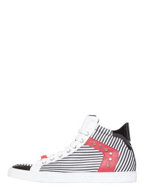 Sneakers di pelle a righe