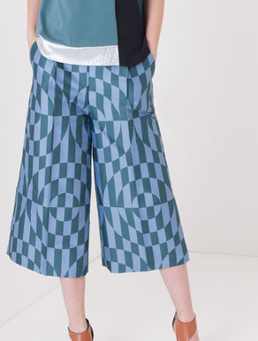 Pantaloni cropped wide fit jacquard