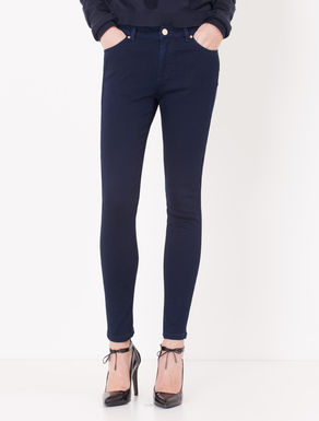 Pantaloni jeggings in raso di cotone