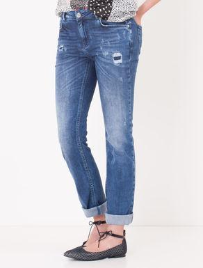Jeans straight fit con strappi e toppe
