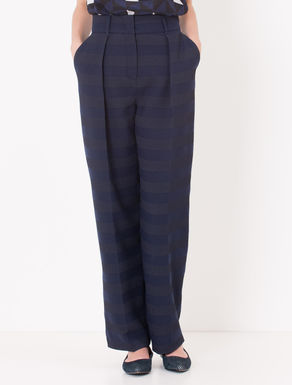 Pantaloni wide fit jacquard a righe