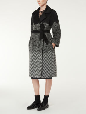 Alpaca and wool jacquard coat