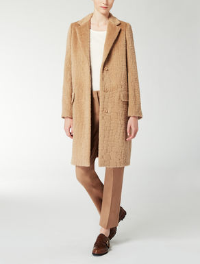 Wool and angora jacquard coat