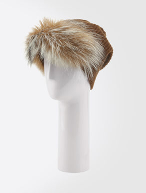 Cashmere and fur beret