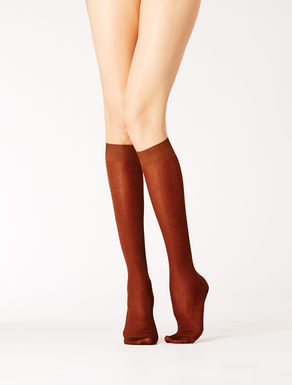 Ribbed viscose knee-length socks