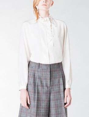 Silk shirt with bow and ruching