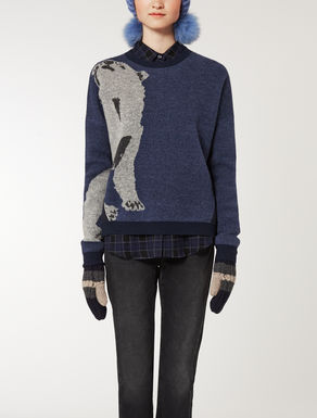 Wool knit shirt with a jacquard design