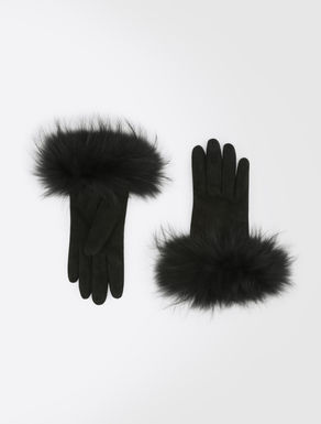 Leather gloves with fur trims