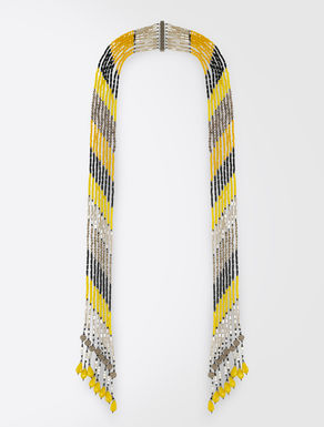 Multi-strand neck tie necklace