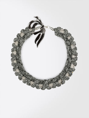 Woven multi-material necklace