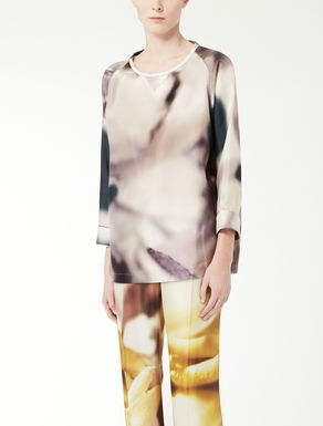 Printed silk cassock top