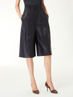 Nappa leather bermuda shorts