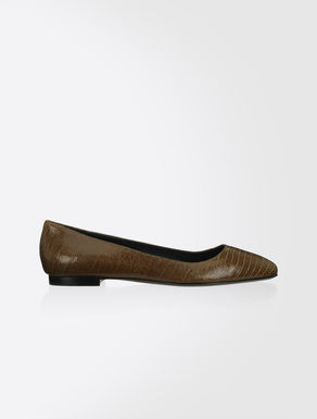 Craquelé leather ballet flats