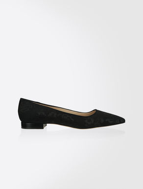 Leather and lace ballet pumps