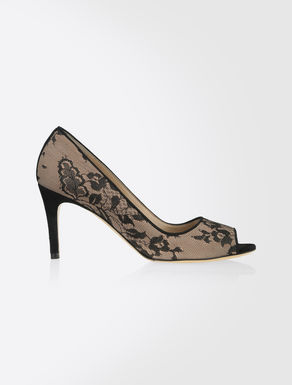 Leather and lace open-toe pumps