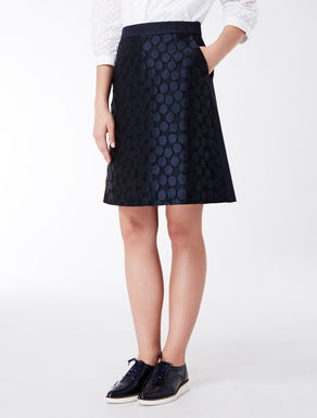 Short skirt in polka dot technical jacquard