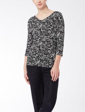 Jersey knit shirt with asymmetric collar