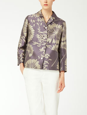 Linen and silk jacquard jacket