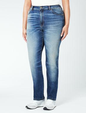 Jeans in denim stretch con elastico
