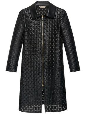 Glossy jersey overcoat