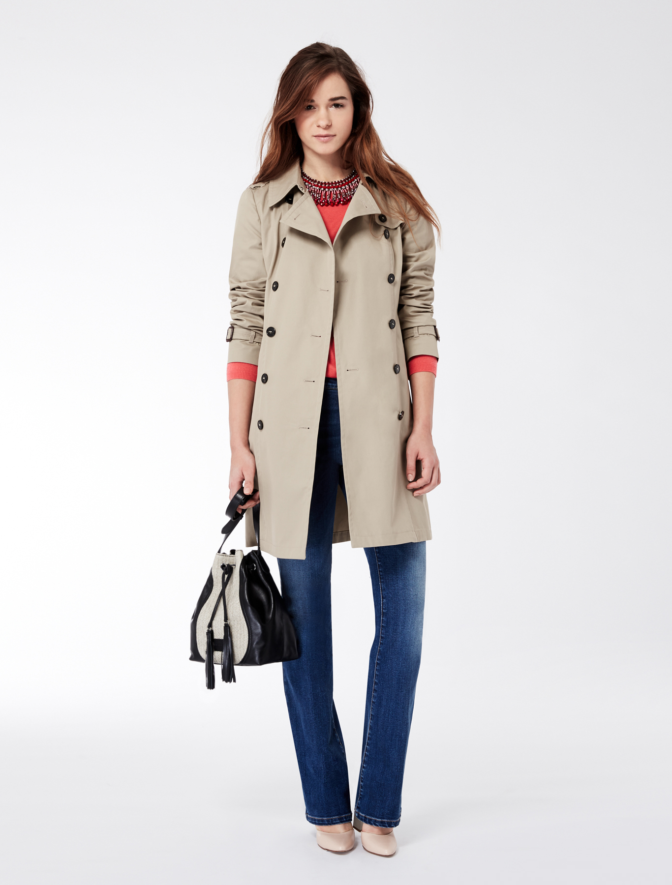 tapered trench coat in waterproof cotton camel maxmara. Black Bedroom Furniture Sets. Home Design Ideas