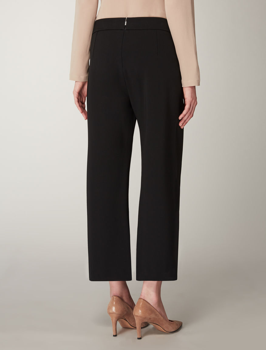 Cropped viscose jersey trousers