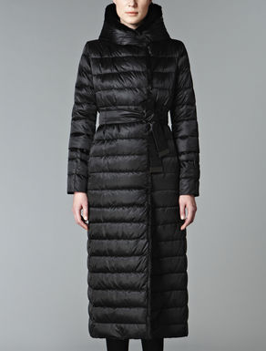 Down jacket with black lapin trim
