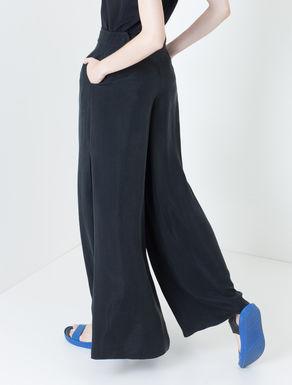 Pantaloni palazzo di twill con spacchi