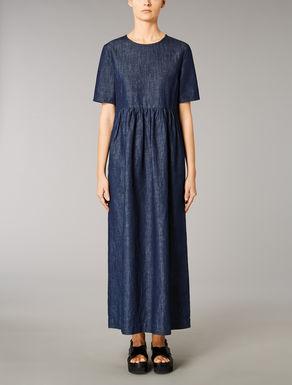 Cotton denim and linen dress