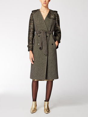 Double tweed wool and angora coat