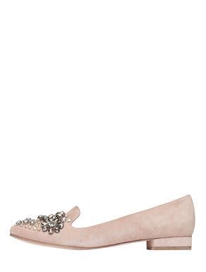 Slippers di suede con ricamo bijou