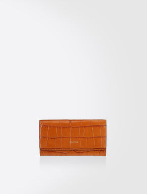 Crocodile embossed leather purse
